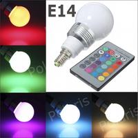 Wholesale and retail 10pcs/lot 16 Color Changing E14 3W RGB LED Light Bulb Lamp AC85V~265V + IR Remote Control