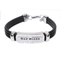 Fashion Men Bracelet Leather Bracelet For Men Trendy Men Jewelry Religious Bracelet  Free Shipping