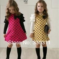 2014 wholesale girls long sleeve dress cute Polka Dot Dress 2 colour 5pc/lot size 100-140