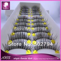 Free Shipping Handmade false eyelashes 100% Hand Tied False Eyelashes 10 pairs per box 3 boxes/lot