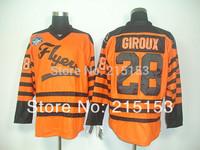 Wholesale Ice Hockey Jerseys Giroux  Cheap Philadelphia Flyers #28 Claude Giroux Stitched Logos Orange Jerseys