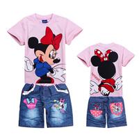 16033007 Children's clothing set  Short sleeved T - Shirt  + Denim Shorts pants jeans girl's sets Cartoon cute cartoon mouse