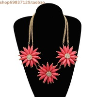 3 2014 resin large daisy nauseating necklace interdiffused Women petals