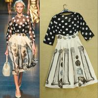 wholesale 3019 2014 fashion women's vintage patchwork print dot one-piece dress