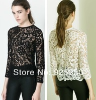 blouse and shirts  women fashion 2014 summer vintage sexy white black embroidery floral lace crochet shirt long sleeve slim top