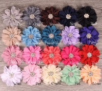 Scallop Ruffuled Ballerina Chiffon Petal Flowers with  Clear Alloy Crystal Button ,Baby Headbands flower,  240pcs/lot