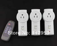 Smart 20M American USA Plug 3 Way Three Gang RF Wireless Remote Control US Socket Switch 110V Learning Style Retail Wholesale