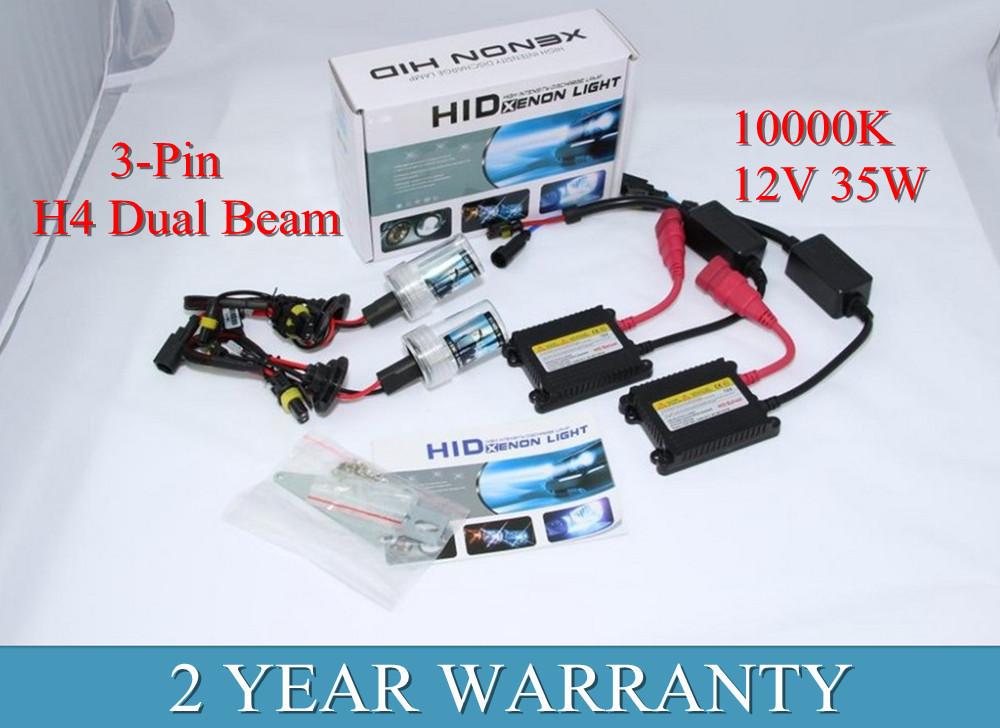 3-Pin H4 Dual Beam HID Kit 35W 12V Xenon HID Conversion Kit Headlight 10000k H4(China (Mainland))