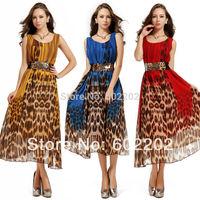 New 2014 Summer European Fashion Women Sexy Elegant O-neck Leopard  Gradient Chiffon Sleeveless Long Tank Vest Girl Dress