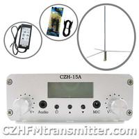 CZH CZE-15A 15WFM stereo PLL broadcast transmitter 1/2 wave professional antenna kit FMUSER