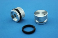 2PCS Silver MACHINE SOLID Aluminum Knob 25*18mm with BLACK Rubber ring,6.0mm hole