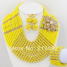 Nigerian Wedding Crystal Beads Jewelry Set African Costume Jewelry Set 2014 New Necklace Bracelet Earrings Free