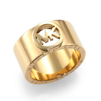 100% authentic,Free Shipping, Logo Cutout Band Ring Gold