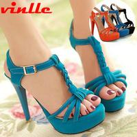 VINLLE 2014 Fashion high-heeled shoes open toe sandals summer dress shoes for women pumps casual sandals size  34-39
