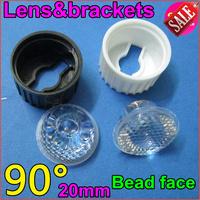 30set/lot Free Shipping led glass len High Power LED Optical bead face Lens Bracket Holder 90Degree for1W3W LEDs holder glass