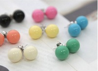 Hot Wholesale Free Shipping 2014 Fashion Kroea Style Simulated-pearl Earring Round Coplrful Stud Earrings