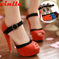 VINLLE 2014 Fashion summer new women sexy open toe platform high heels women pumps casual sandals size  34-39