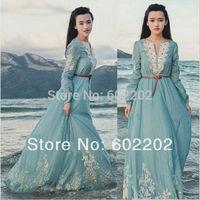 NEW 2014 STYLE European Fashion Women Long Sleeve Vintage Cute Maxi Long Dress Casual BOHO Floral Celebrity Party Dresses