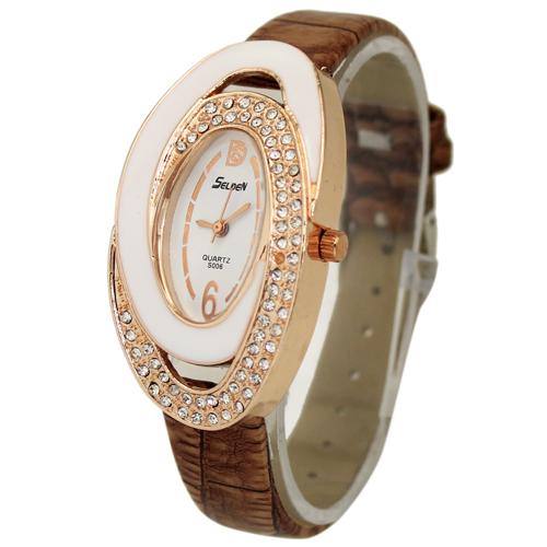 Hot Sale Luxury Brown Oval Dial Women s Girls Ladies Jewelry Diamond Analog Quartz Hours Wrist