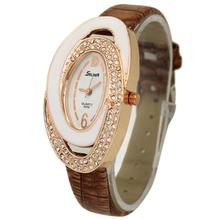 Hot Sale Luxury Brown Oval Dial Women's Girls Ladies Jewelry Diamond Analog Quartz Hours Wrist Watches, Free & Drop Shipping