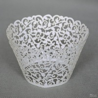 Wholesale - laser cut white Vine Cupcake wrappers,Wedding Vine Figtree cupcake Liners 60pcs free shipping