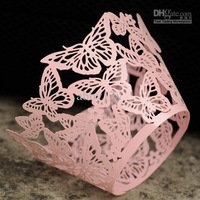 Wholesale - Pink Laser cut Butterfly Cupcake Wrappers for Wedding cake decoration 60pcs/lot WBHD013