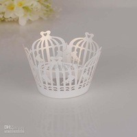 Wholesale - Bird cage cupcake wrappers,Laser cutting White birds wedding Cupcake wrappers 60pcs