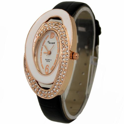 2014 New Fashion Black Elliptic Dial Women Ladies Girls Jewelry Diamond Analog Quartz Hours Wrist Watches