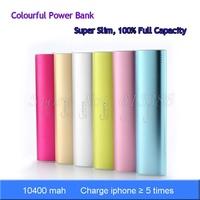 100% Full Capacity Super Slim Colorful 10400 mah Aluminum Power Bank, Free Shipping