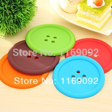 10pcs/lot colorful silicone button coaster, candy color button drink glass cup mat, free shipping(China (Mainland))