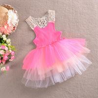 2014 summer cotton kids sundress girls princess dresses children lace dance dresses green pink