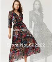 NEW 2014 European Fashion Women Print Floral Chiffon Long Sleeve Vintage Maxi Long Dress Floral Celebrity Cocktail Party Dresses
