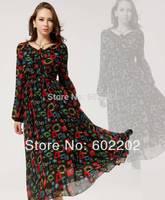 New 2014 Spring Women Fashion Slim Elegant Chiffon Long Sleeve Geometric Printed Bow Vintage One-piece Party Dress Vestido