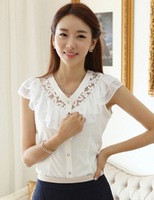 New 2014 Free shipping summer causal women chiffon blouse base lady sleeve v-neck lotus leaf shirt   S-XL