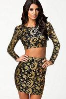 New 2014 New Sexy women dress High Street Splendid Gold Print Twin dress Set  LC21200