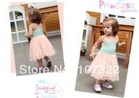 Retail Lace Tutu Gauze baby dresses infant girl gallus sleeveless one-piece dress 3M-3T toddler Summer clothing  630301J