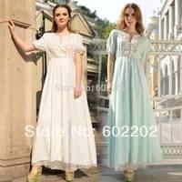 2014 Summer Women Fashion Preppy Style Sweet Gauze Embroidery Flower Long Maxi Evening Dress Girls Bohemian Empire Vestidos+Belt