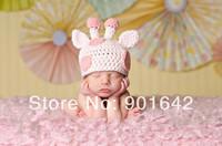 Retail Newborn Baby Girl Pink Giraffe Beanie,Crochet Cotton Infant Girl Hat ,Baby Shower Gift  Photography Prop Hat 0-12 Months