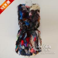Colorful fox fur vest V-neck multicolour fur outerwear medium-long vest  Y9P0