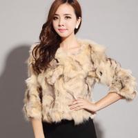 2014 fox fur o-neck with sleeves fox fur outerwear winter women's Y9P0
