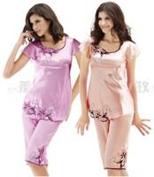 LZ women summer short pants fashion polyester silk pajama sets female high quality Embroidery short night sleepwear M L XL XXL