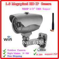 Onvif Ip camera  P2P HD1.3 MegaPixel 960P H.264 Network WIFI Bullet IP Camera Wifi Wireless Security cctv camera