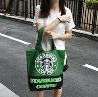 New 2014 Fashion Starbucks Casual Canvas Shopping Bag Women Handbag Print Shoulder Bags Women Messenger Bags Totes Bolsas