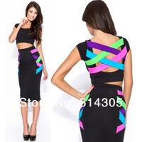 New Spring 2014 Woman Bandage Dress 2pieces Black Sleeveless Elegant Sexy Night Club Wear Dress Celebrity  Cocktail Party
