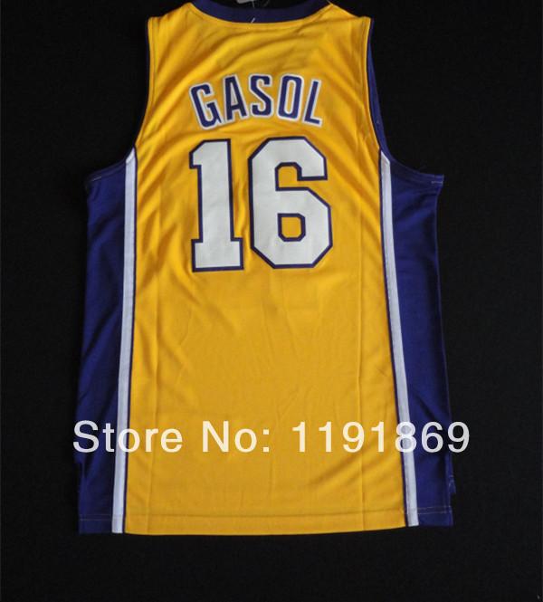 NWT Los Angeles #16 Pau GASOL Jersey Gold Stitched 100% Polyester American Basketball Ball Sport Jersey Shop(China (Mainland))