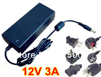 DC 12V 3A power supply AC 100-240V 36W power supply power adapter DC port (5.5*2.1 or 5.5*2.5 ) with power plug cord 10pcs/lot