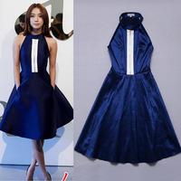 New Celebrity Party Dress 2014 Summer Halter Neck Dark Blue Color Block A Line Mid-Calf Length  Sleeveless Dress Boutique