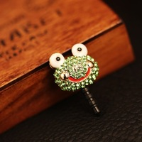 Min Order$10(mix order)Free Shipping!2014 new general super cute adorable frog diamond headphone port dustproof plug 10 grams