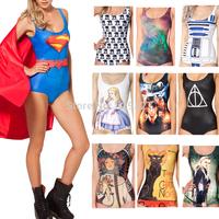 Sexy Bikini S Bodysuit SUPERMAN CAPE SUIT WONDER WOMAN CAPE SUIT  I AM THE BATMAN SWIMSUIT Digital Printing Swimwear Women