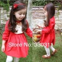 2014 new girls long-sleeved dress  princess cute little red dress Red 90-130 5pc/lot